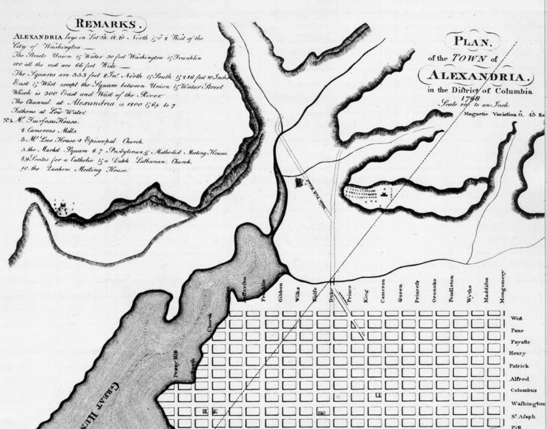 1798 Plan of Alexandria District of Columbia