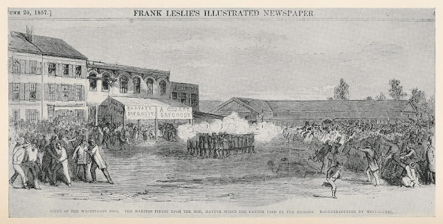 Marines firing on the mob at Northern Liberties Market from Frank Leslie's Illustrated Newspaper June 29 1857