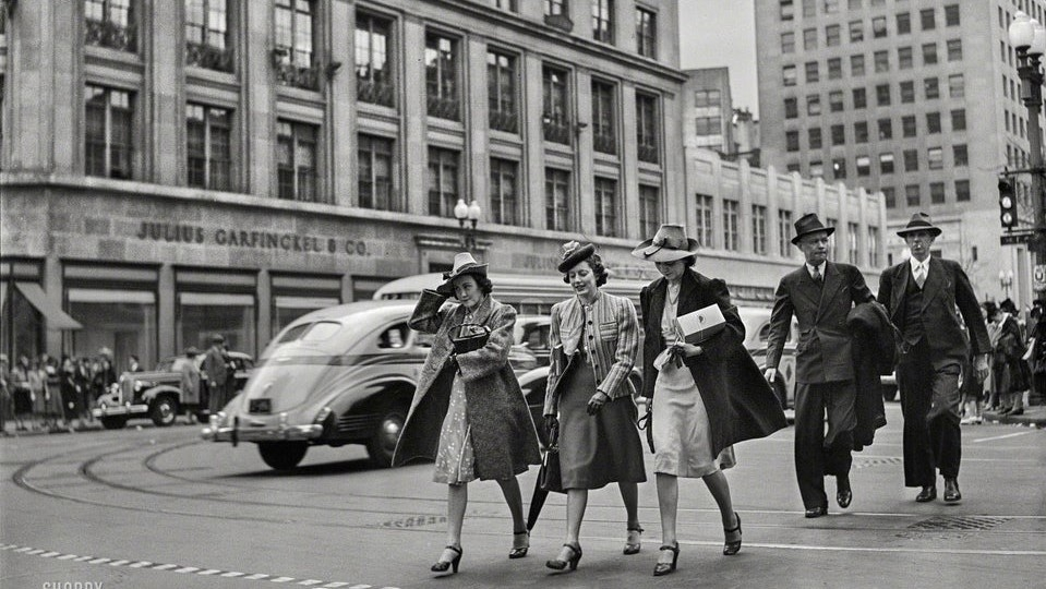 Washington women in 1939 walking along 14th Street with Garfinckels Dept Store in background