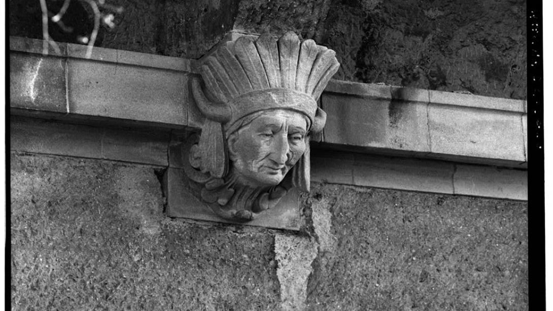 Detail of a sculpture on a bridge