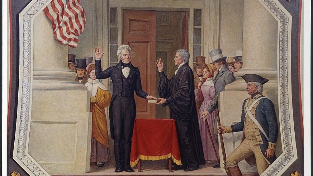 Pres Jackson Inauguration with Chief Justice John Marshall 1829 LOC