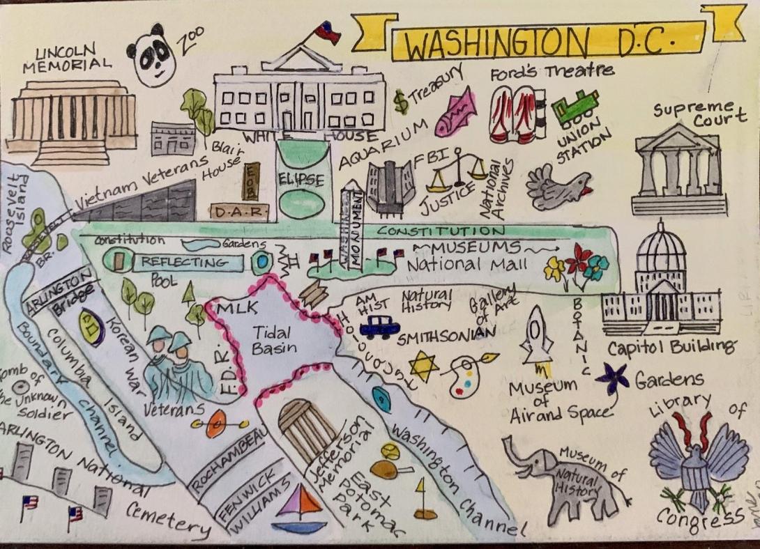 Washington DC hand drawn map