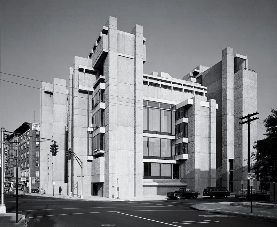 Black and White Photograph of Yale Art and Architecture Building by Ezra Stoller for ESTO
