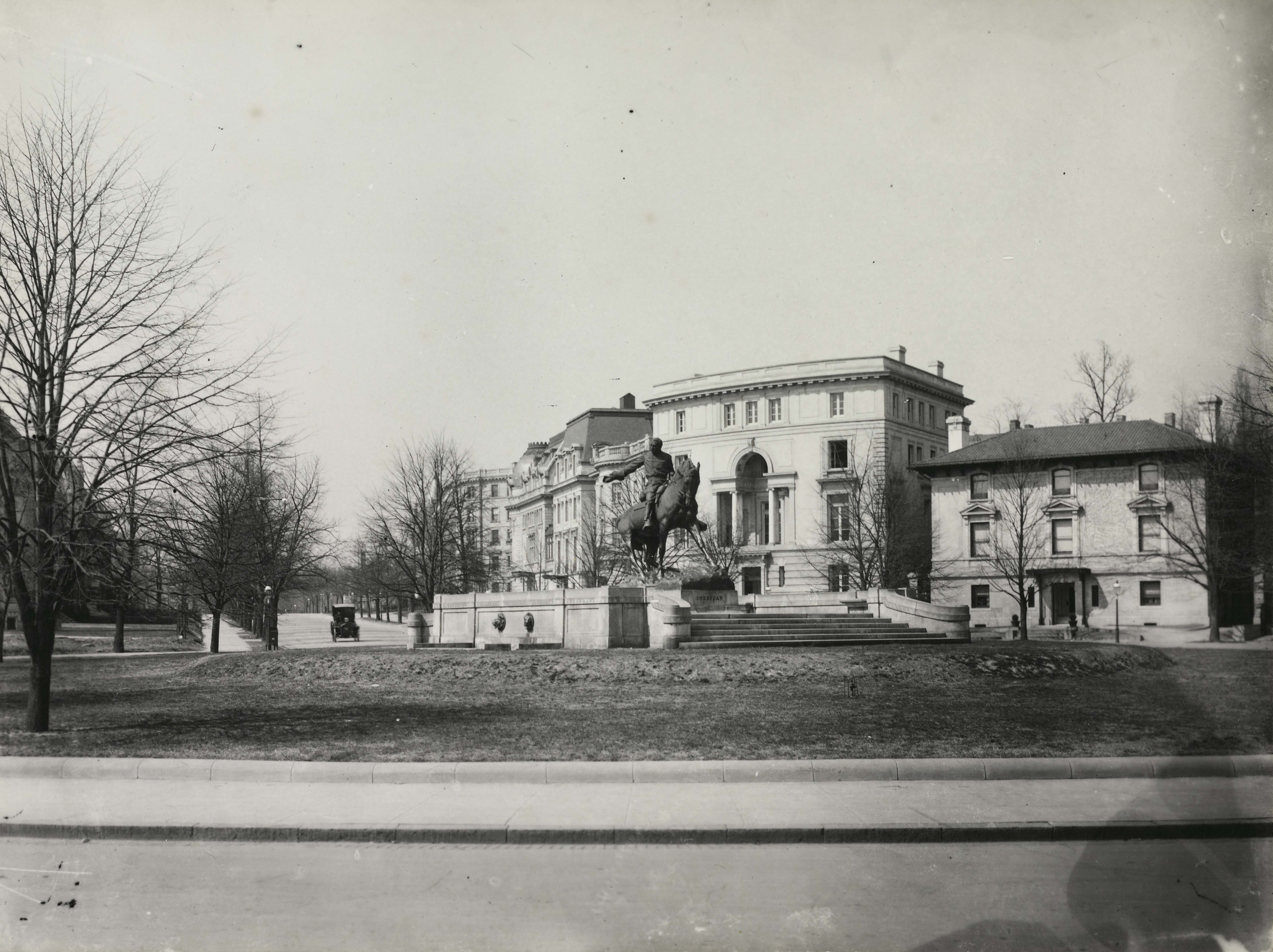 Black and white photograph showing a view of Sheridan Circle's double rows of linden trees in 1945, courtesy Peoples Archive DCPL